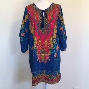 NLW Brand Boho Floral Print Shift Mini Dress Sz S